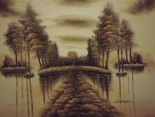 FORESTA invernale Paesaggio grande dipinto a olio tela marrone ALBERI LAKE ACQUA moderno