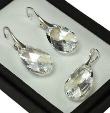 925 Silver Earrings/Set with Swarovski Crystals 22mm PEAR - Moonlight