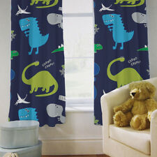 """Children's Bedroom Curtains Dinosaurs Blue Boys 66"""" by 72"""" with Tiebacks Baby"""