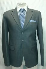 Mens CUSTOM TAILORED gray 3 button pinstripe suit sz 42 XL