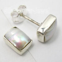 Solid Sterling Silver Rectangle Pearl Ear Stud Earrings Fashion Wholesale