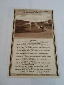 Saltersgate-Pickering Signpost Poem Kathleen Partridge, Vintage Postcard §ZA1560