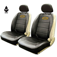 NEW PAIR OF BLACK VINYL CHEVROLET LOGO CAR TRUCK SUV FRONT SIDELESS SEAT COVERS