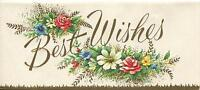 VINTAGE GARDEN FLOWERS BEST WISHES GREETING CARD PRINT 1 CHRISTMAS TOY SHOP CARD