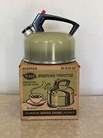 Vintage Mirro Whistling Teapot Kettle Colormode Avocado Green w/ Box 2 1/2 Quart