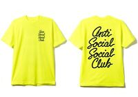 DS Anti Social Social Club ASSC Logo Options Neon Yellow Tee shirt in hand Bape