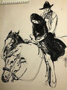 """Vintage GUSTAVSON ORIGINAL ARTWORK  WESTERN COWBOYS """"Rio Grande Deadline"""" Book"""