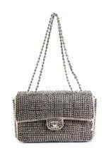 Chanel Пирамида шип классическая одиночная заслонка сумочка через плечо с серебряными серый