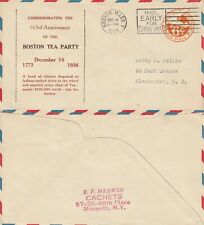 US 1936 BOSTON TEA PARTY 163rd ANNIVERSARY FLOWN COVER