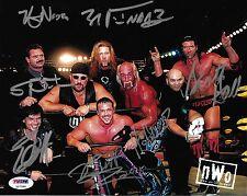 Hulk Hogan Scott Hall Kevin Nash Eric Bischoff +3 Signed NWO 8x10 Photo PSA/DNA