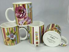 Set/4 Laura Ashley Lifestyles Hampshire Floral Stripes Ceramic Coffee Mug Cup