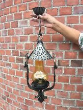 Vintage French Gothic Metal Ceiling Lantern Glass Chimney Shade Light Lamp Retro