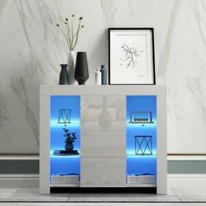 Modern TV Unit Cabinet Display High Gloss Sideboard Cupboard Led Light Furniture