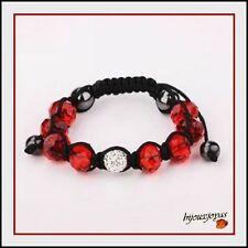 +Bracelet Shamballa 1 Perle Disco Cristaux + 8 Perles +2 Hématite+ Fil Noir