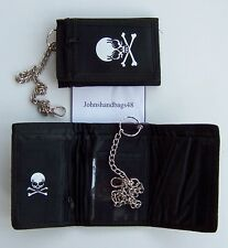 NYLON BLACK SKULL AND CROSS BONES  SPORTS WALLET WITH SECURITY CHAIN