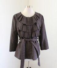 Ann Taylor Loft Black Gray Red Tweed Ruffle Tie Belt Jacket Blazer Size L