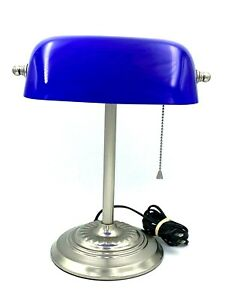 Vntg Bankers Portable Desk Lamp Underwriters Laboratories Glass Shade Rotates