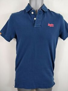 MENS SUPERDRY NAVY BLUE JAPAN POLO SHIRT TOP S SMALL