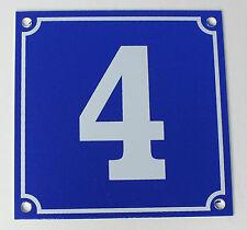 """Aluminium Hausnummer """"4"""" 10x10cm blau Hausnummernschild sofort lieferbar Schild"""