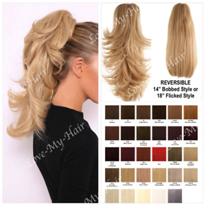 CLIP ON Reversible Ponytail 2 Styles Flicked or Short Bobbed CLAW CLIP (B1)