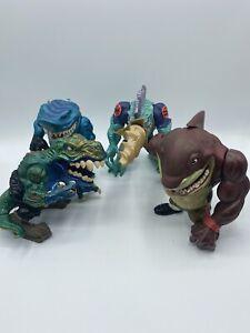 Street Sharks Lot Of 4 Action Figures 1990s Streex, T-Rex, Slash, Big Slammu