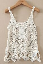 Lefties for ZARA Cotton Cropped Crochet Knit Lace Festival Vintage Vest Top S 8