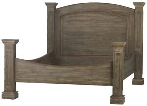 "95"" Libera Bed Queen Solid Mahogany Wood Grey Finish Headboard Attached"