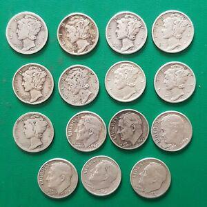 15 Dimes US USA Silver Dime Coins