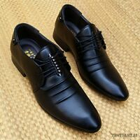 Mens Wedding Groom Shoes Lace Up Pointied Toe Faux Leather Leisure Business 2018