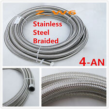 AN4 -4AN 5.5MM Stainless Steel Braided OIL FUEL Gas Line Turbo Pipe Vacuum Hose