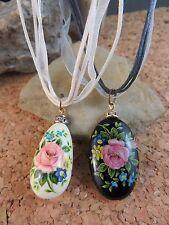 "Vintage Estate 2 Pink Enamel Flower Black & White Stone 16"" Cord Necklace #507"