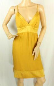 Claudio Milano Women's Dress Silk Orange With Satin Trim Stretch Size S