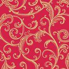 """Star Dust """"Gold Scrollwork on Red B/G""""-Studio E-Fat Quarter"""