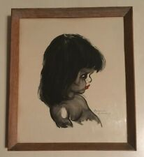 VINTAGE MID CENTURY FRAMED SMALL PRINT OF A YOUNG GIRL SIGNED TRETCHIKOFF ERA