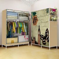 170*45*105cm Portable Closet Canvas Wardrobe Clothes Rack Storage With Shelf~
