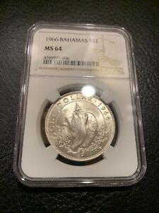 1966 BAHAMAS $1 SILVER DOLLAR NGC MS 64 MS64 GREAT BRITAIN CROWN