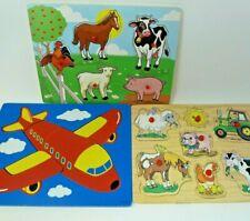 Lot of 3 Vintage Tray Puzzles - Children's Puzzles - Farm
