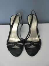 NINE WEST Black Fabric Slip On Heel Strap Solid High Heel Shoes Sz 6 M B4460