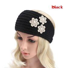 Women Floral Pearl Knitted Crochet Knit Turban Ear Warmer Head Wrap Headband Black