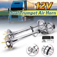 12V 125DB Klaxon Air Corne Horn fort Double trompette Acier inox Bateau Camion