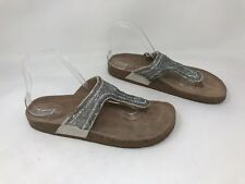 New! Women's Candie's 182376 Kraz Beaded Footbed Thong Sandals - Gray W25