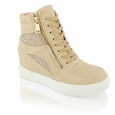 Womens Ladies Hidden Wedge Heel Platform Sneakers Lace up Trainers Ankle Boots