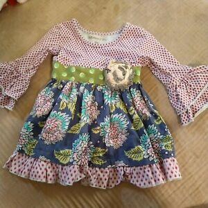 Infant Girls Mustard Pie Dress.Ruffle Sleeves Size 9 Months
