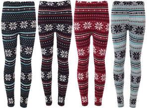 New Ladies Women's Soft Knitted Christmas XMAS Snowflake Leggings UK Size 8-14