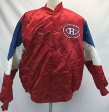 Adult Xl Vtg Montreal Canadiens Satin Jacket Falcon Sportswear Hockey Red White