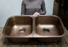 "32"" Solid Copper Sink Handmade Undermount Double Bowl 50/50 Antique Kitchen Bar"