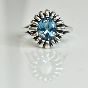 Vintage Sterling Silver Signed KABANA Blue Stone Ring SZ 6.25, 4G