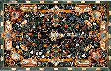 4'x2' Marble Green Dining Center Table Top Pietra Dura Gems Scagliola Work H3258