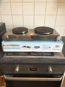 LAPTRONIX 2500W PORTABLE ELECTRIC COOKER DOUBLE HOB HOT PLATE TABLE TOP S STEEL