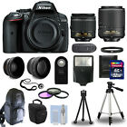 Nikon D5300 Digital SLR Camera + 4 Lens Kit 18-55mm VR 55-200 mm VR +32GB & More